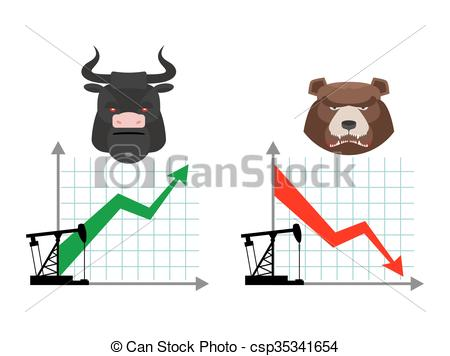 450x356 Bear And Bull. Quotations Of Oil Production. Oil Rig . Clipart
