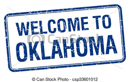450x285 Welcome To Oklahoma Blue Grunge Square Stamp Vector Clip Art