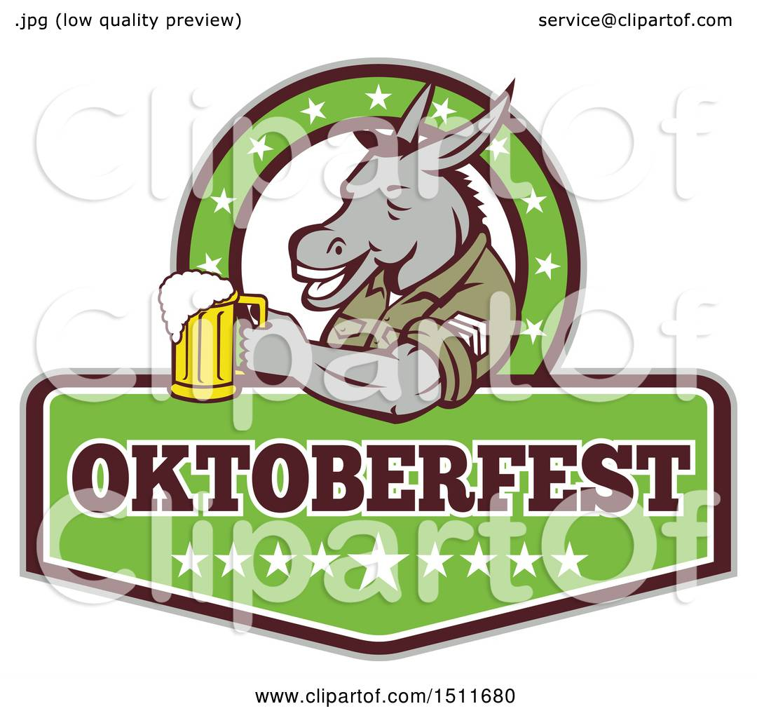 1080x1024 Clipart Of A Military Donkey Holding A Beer Mug In An Oktoberfest