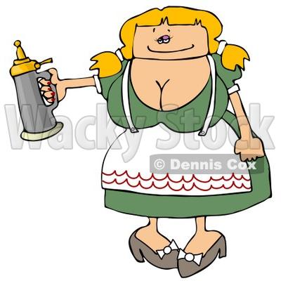 400x400 German Woman Serving A Beer Stein