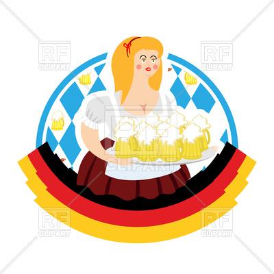400x400 Oktoberfest Girl And Beer Mugs Royalty Free Vector Clip Art Image