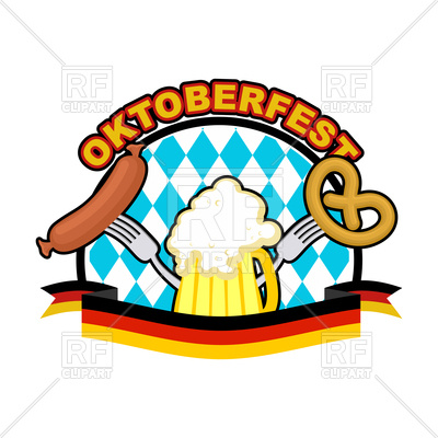 400x400 Oktoberfest Icon. Beer, Sausage And Pretzel. Royalty Free Vector