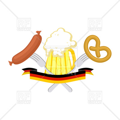 400x400 Oktoberfest Poster With Beer, Sausage And Pretzel Royalty Free