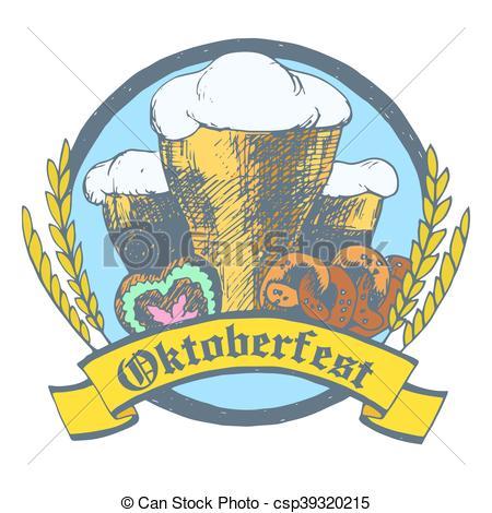 450x470 Oktoberfest Vector Illustration With Beer Glasses, Pretzels