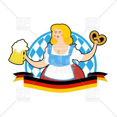 400x400 Oktoberfest Waitress With Beer Mug And Pretzel