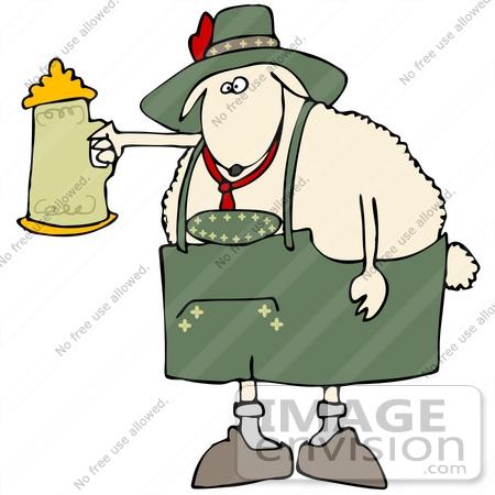 450x450 Clip Art Graphic An Oktoberfest Sheep Holding Up A Stein