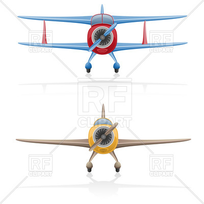 400x400 Front View Of Cartoon Biplane With Airscrew