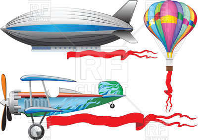 400x283 Old Airplane, A Balloon And Airship Royalty Free Vector Clip Art