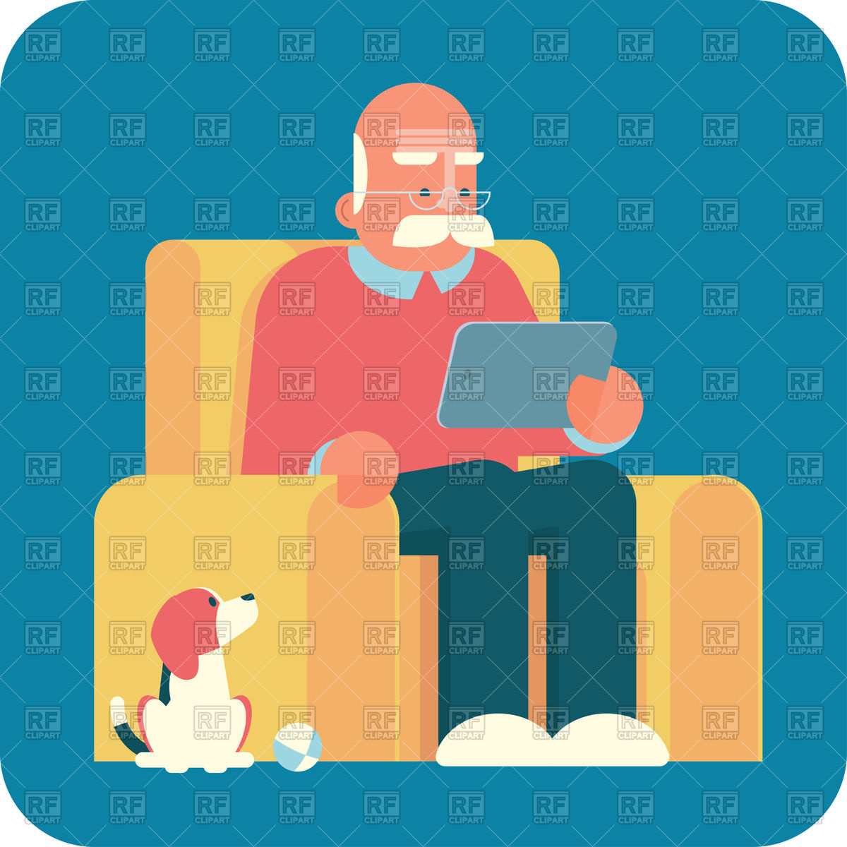 1200x1200 Old Man (Grandpa) Sitting In Armchair And Using A Tablet Pc