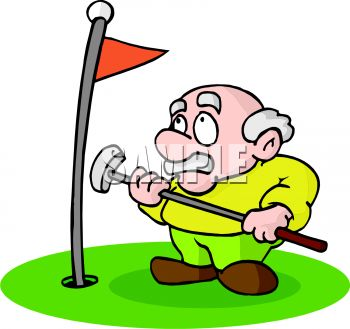 350x329 Royalty Free Clipart Image Cartoon Of An Old Man Playing Golf