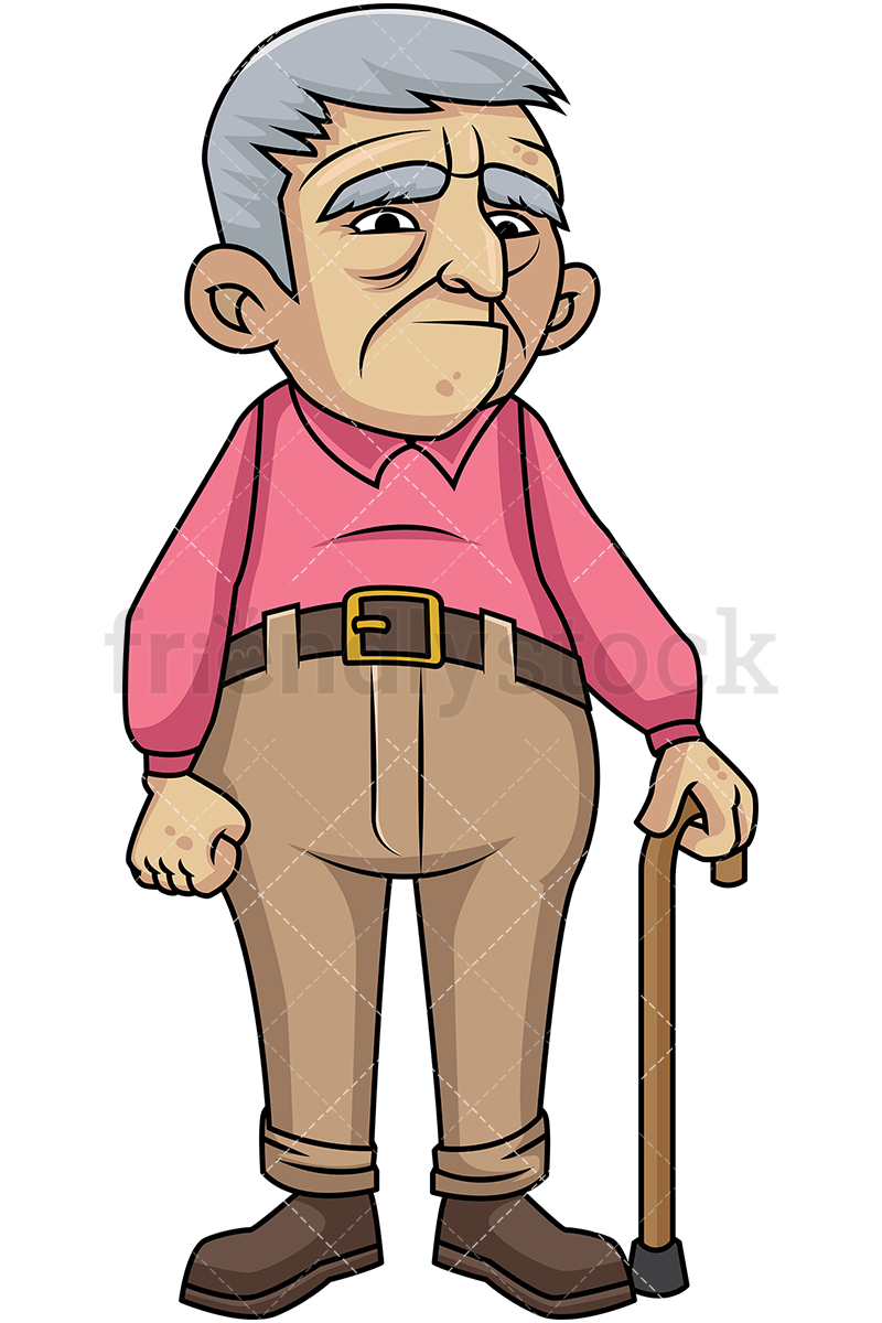 800x1200 Sad Old Man With Walking Stick Cartoon Vector Clipart