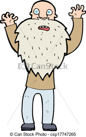 296x470 Cartoon Frightened Old Man With Beard Clip Art Vector