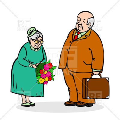 400x400 Happy Elderly Couple. Old Man With Bouquet Of Flowers Royalty Free