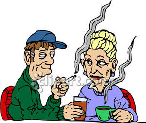 300x252 Old Couple Smoking And Drinking