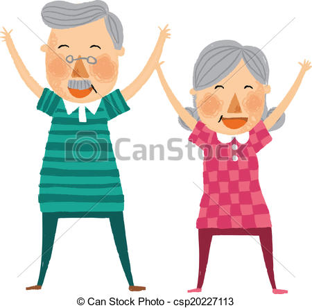 450x444 The View Of Old Couple Is Exercising Vector Clip Art