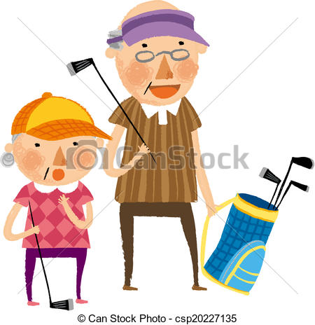 450x464 The View Of Old Couple Is Playing A Golf Drawings