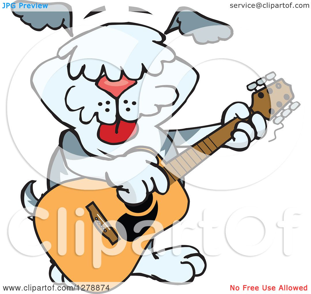 1080x1024 Clipart Of A Happy Sheepdog Dog Playing An Acoustic Guitar
