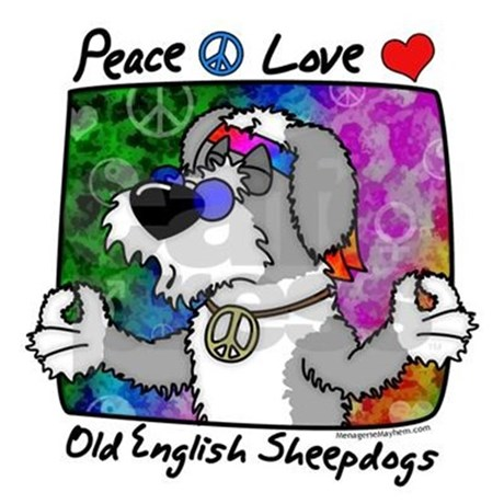 460x460 Hippie Old English Sheepdog Tile Coaster By Menageriemayhem