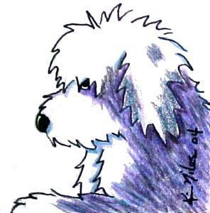 296x300 Old English Sheepdog Cartoon Art Created In India Ink And Color
