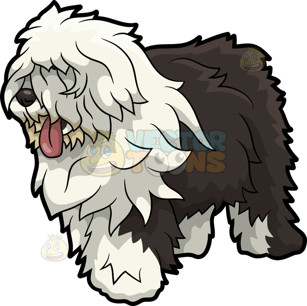 1024x1019 An Old English Sheepdog Dog Cartoon Clipart Vector Toons