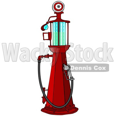 400x400 Clipart Of A Red Old Fashioned Gas Pump