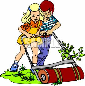 296x300 Royalty Free Clipart Image A Boy And Girl Pushing An Old