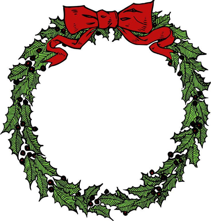 736x770 Old Fashioned Christmas Wreath Clip Art Merry Christmas Amp Happy