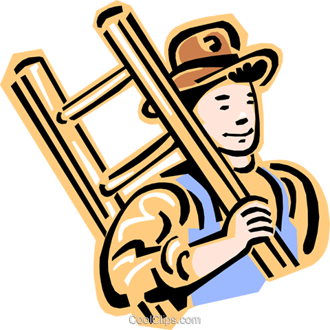 480x480 Old Fashioned Man Carrying Ladder Royalty Free Vector Clip Art