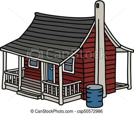 450x382 Old Dark Red House. Hand Drawing Of A Classic Dark Red Vector