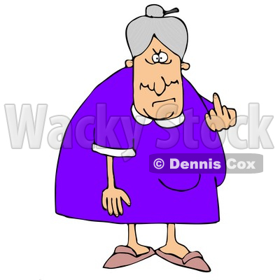 400x400 Clipart Illustration Of A Mean Old Caucasian Lady With Gray Hair