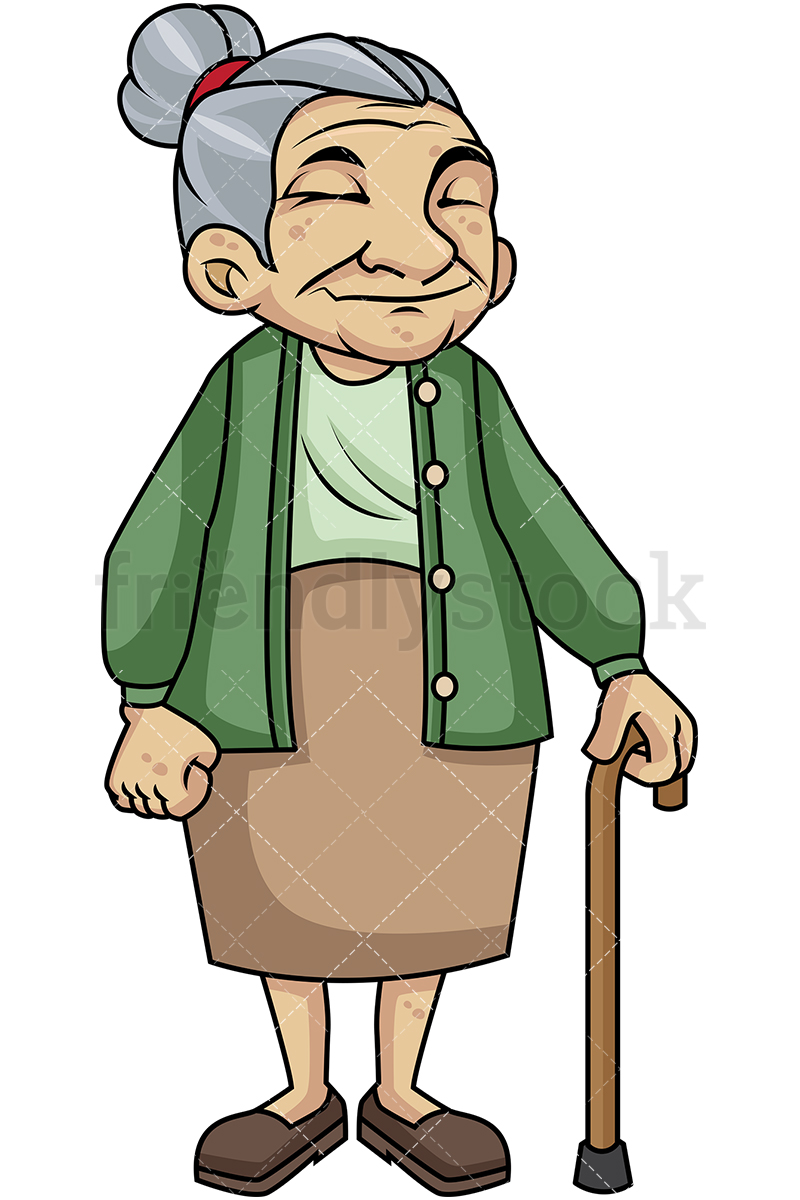 800x1200 Old Woman With Walking Stick Cartoon Vector Clipart