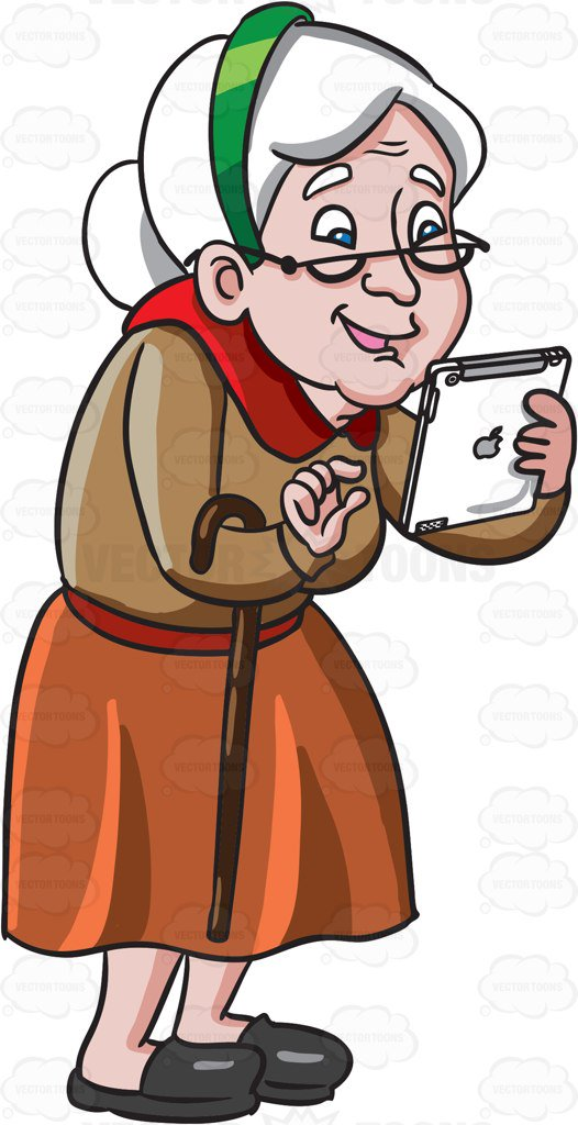 526x1024 Old Lady Cartoon Clip Art An Old Woman Playing Games In Her Mobile