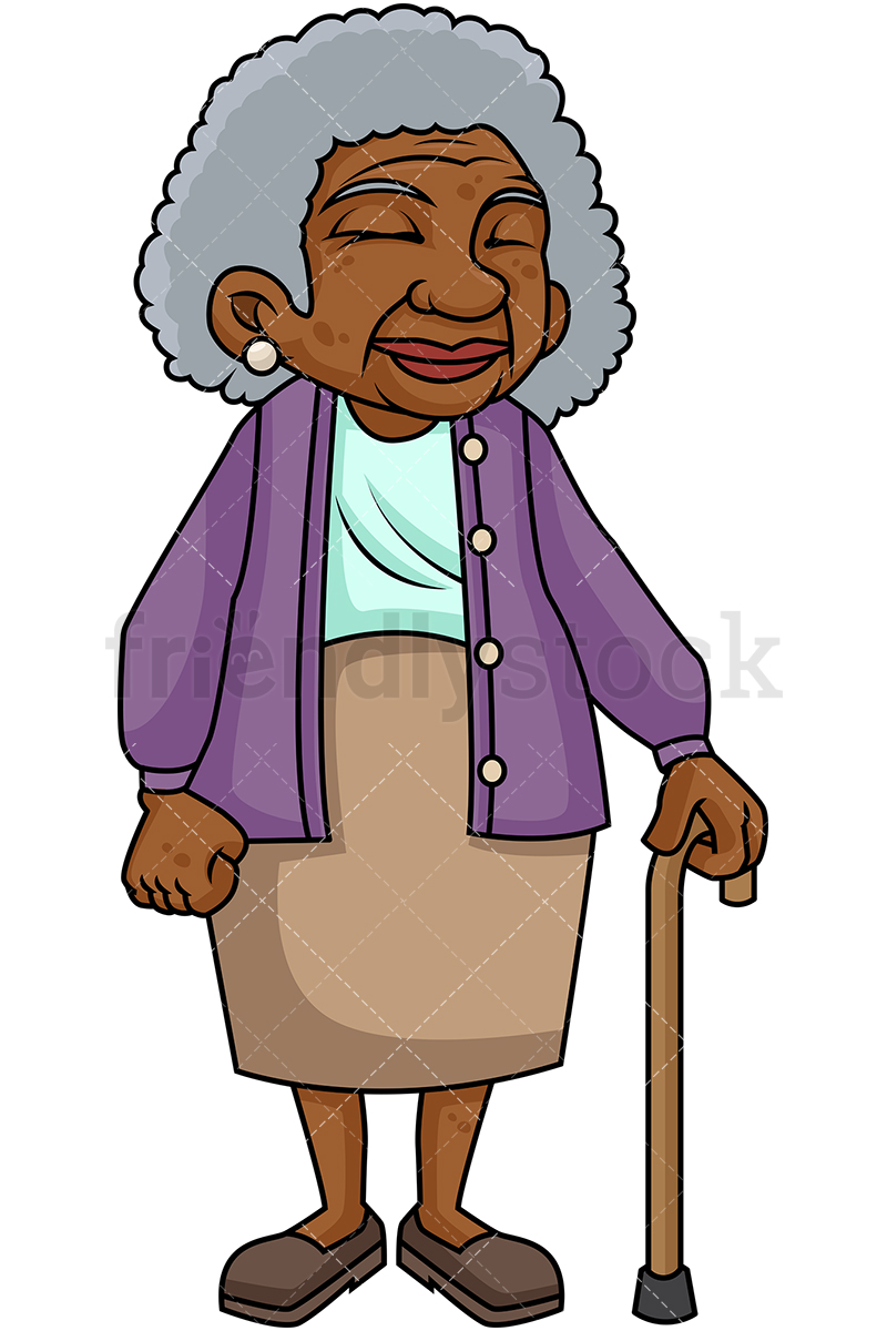 800x1200 Black Old Woman With Walking Stick Cartoon Vector Clipart