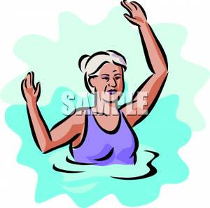 300x296 People Swimming Clipart Older Woman In A Swimming Pool Royalty