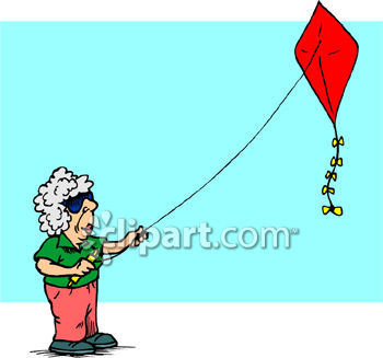350x327 Old Lady With Gray Hair Flying a Kite