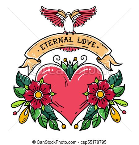 450x470 Red Heart With Flowers, Ribbon And White Dove. Eternal Love