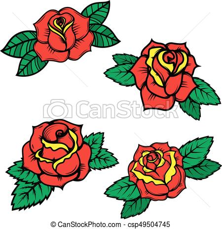450x463 Set Of Old School Tattoo Style Roses Isolated On White Eps