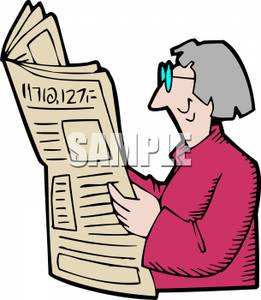 261x300 Clipart Image An Elderly Woman Reading The Newspaper