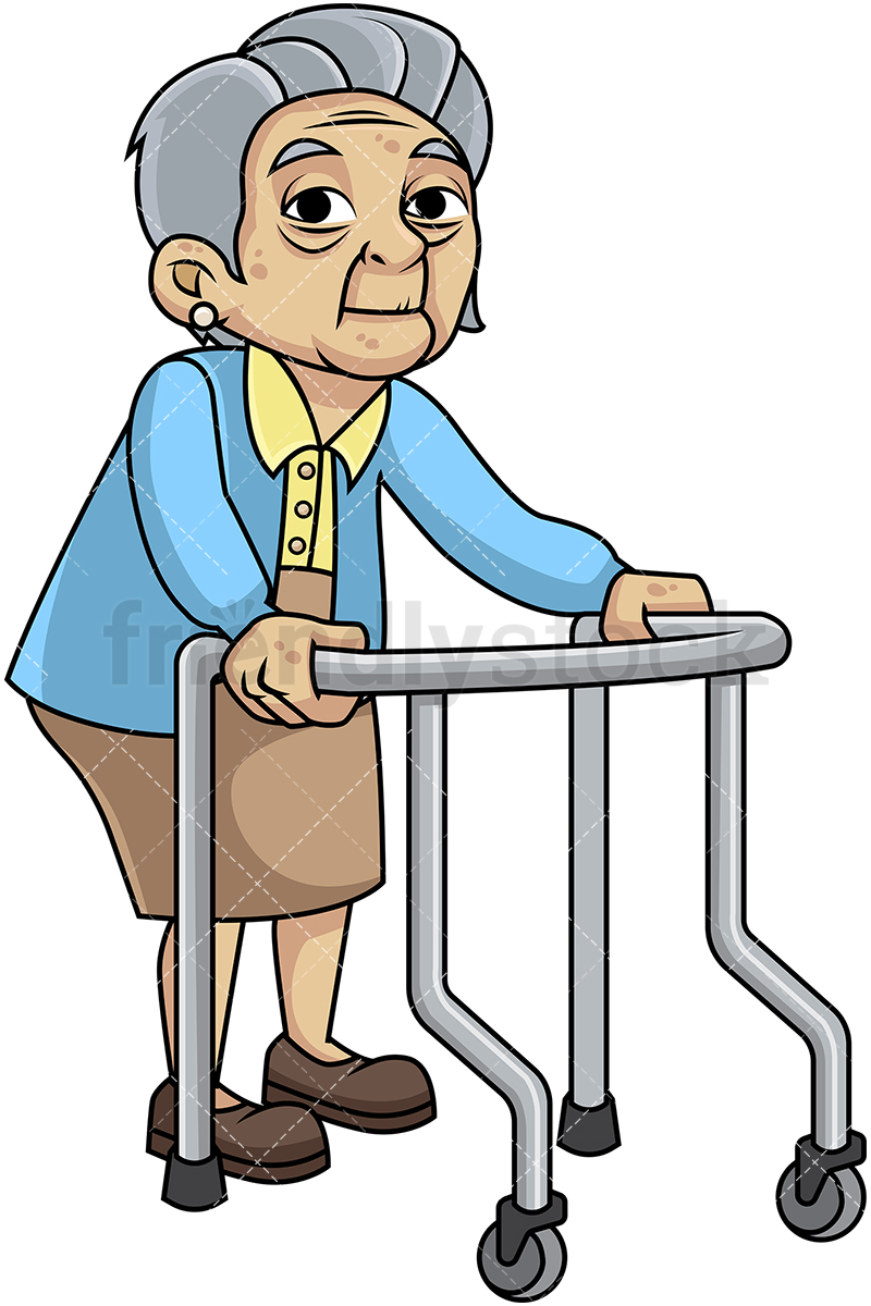 800x1200 Feeble Old Woman With Walker Cartoon Vector Clipart
