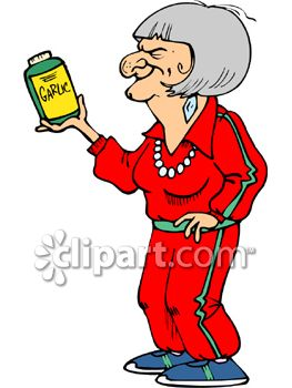 263x350 Healthy Old Woman Holding A Bottle Of Garlic Tablets