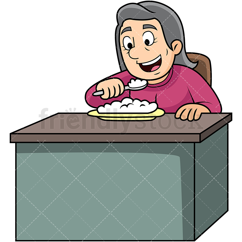 800x800 Old Woman Eating Rice Cartoon Vector Clipart