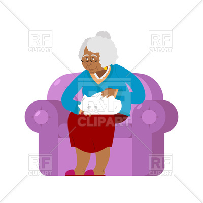 400x400 African Grandmother And Cat Sitting On Chair