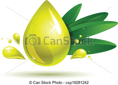 450x324 Olive Oil Drop. Oil Drop With Olive Branch On White. Eps10 Eps