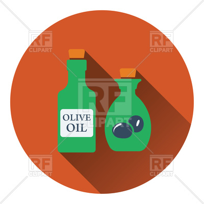 400x400 Bottle Of Olive Oil Icon, Flat Color Design Royalty Free Vector