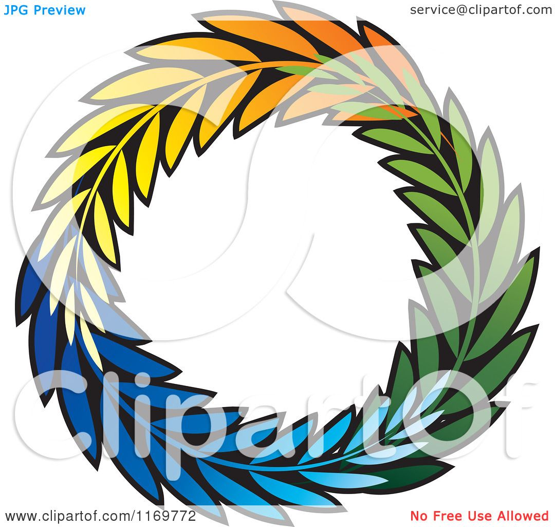 1080x1024 Clipart Of A Colorful Olive Branch Wreath