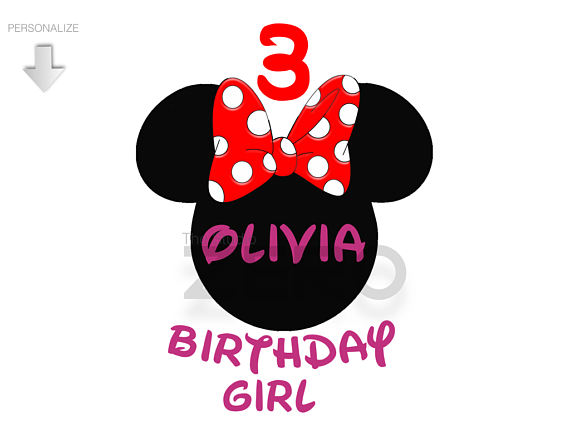 570x428 Disney Minnie Clipart, Personalize, Birthday Girl Clipart
