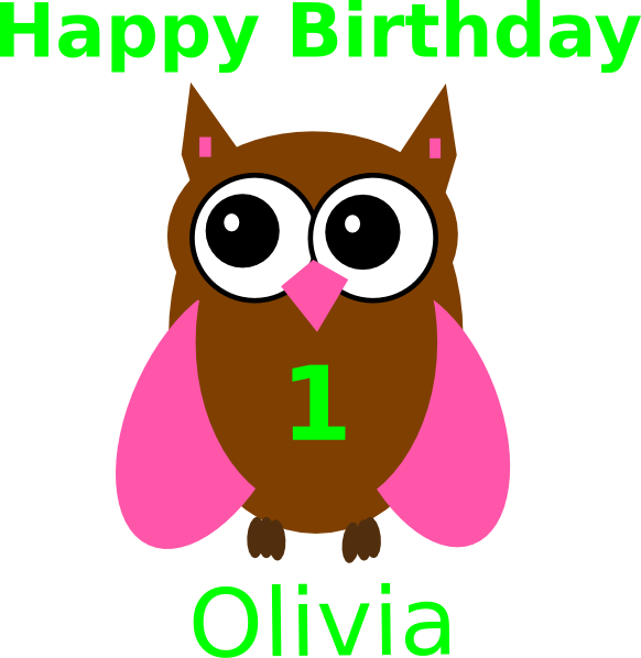 582x598 Pink Owl Olivia Birthday Clip Art