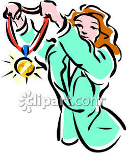 247x300 A Female Olympic Athlete Holding A Gold Medal Royalty Free Clipart