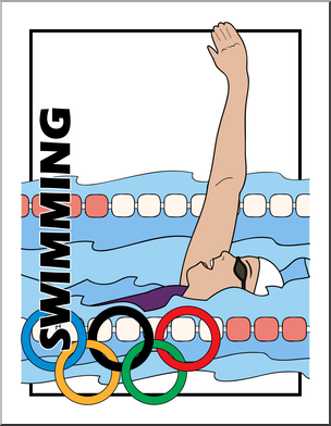 304x392 Clip Art Summer Olympics Event Illustrations Swimming Color I