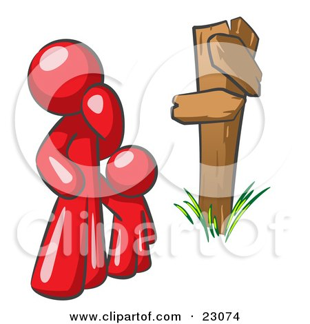 450x470 Clipart 3d Tiny People Approaching A Fork In The Road With All But